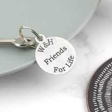 Load image into Gallery viewer, Friendship Gift Personalised Initials Round Pewter Keyring - Multiply Design