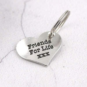 Friendship Gift Personalised Pewter Pocket Heart keyring - Multiply Design