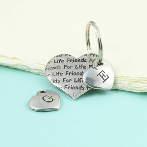 Friendship Gift Personalised Pocket Heart Keyring in Pewter - Multiply Design