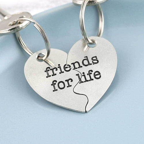 Friendship Gift Split Heart Couples Gift Keyring in Pewter - Multiply Design