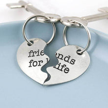 Load image into Gallery viewer, Friendship Gift Split Heart Couples Gift Keyring in Pewter - Multiply Design