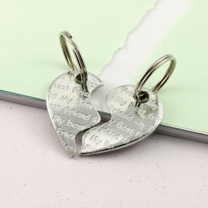 Friendship Gift Two Piece Heart Keyring in Pewter - Multiply Design