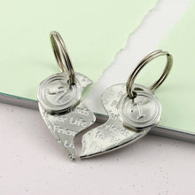 Load image into Gallery viewer, Friendship Gift Two Piece Heart Keyring in Pewter - Multiply Design
