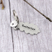 Load image into Gallery viewer, Godfather Gift Oak Leaf and Acorn Personalised Pewter Keyring - Multiply Design