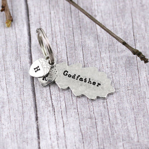 Godfather Gift Oak Leaf and Acorn Personalised Pewter Keyring - Multiply Design
