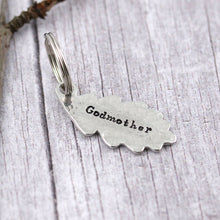 Load image into Gallery viewer, Godmother Gift Oak Leaf and Acorn Personalised Pewter Keyring - Multiply Design