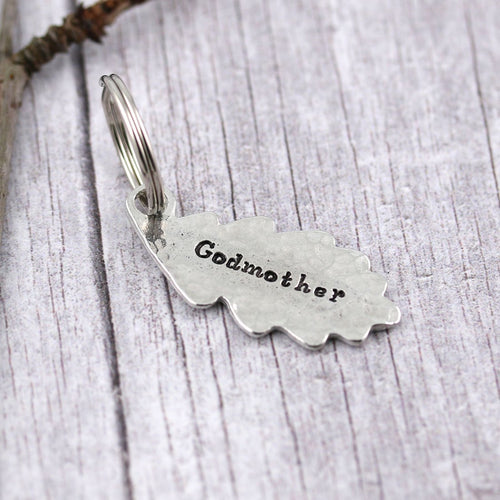 Godmother Gift Oak Leaf and Acorn Personalised Pewter Keyring - Multiply Design