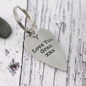 Gran Gift from Grandchild Long Heart Personalised Pewter Keyring. - Multiply Design