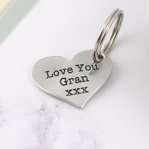 Gran Gift from Grandchild Pewter Pocket Heart Keyring - Multiply Design