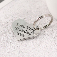 Load image into Gallery viewer, Grandad gift from Grandchild Pewter Pocket Heart Keyring. - Multiply Design