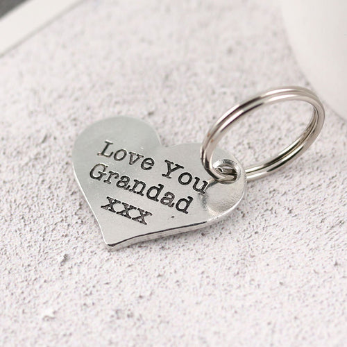 Grandad gift from Grandchild Pewter Pocket Heart Keyring. - Multiply Design