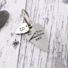Load image into Gallery viewer, Grandma Gift Long Heart Personalised Pewter Keyring. - Multiply Design