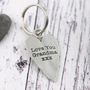 Grandma Gift Long Heart Personalised Pewter Keyring. - Multiply Design