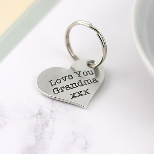 Grandma Gift Pewter Pocket Heart Keyring - Multiply Design