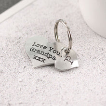 Load image into Gallery viewer, Grandpa gift from Grandchild Pewter Pocket Heart Keyring. - Multiply Design