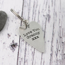 Load image into Gallery viewer, Granny Gift Long Heart Personalised Pewter Keyring. - Multiply Design