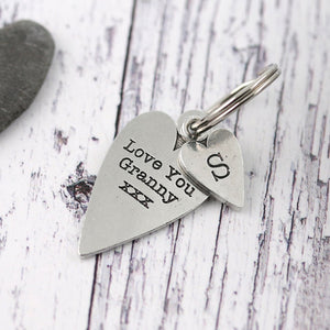 Granny Gift Long Heart Personalised Pewter Keyring. - Multiply Design