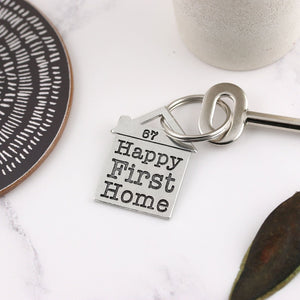 Happy First Home Housewarming Gift Personalised Pewter House Keyring. - Multiply Design