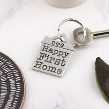 Load image into Gallery viewer, Happy First Home Housewarming Gift Personalised Pewter House Keyring. - Multiply Design