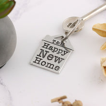Load image into Gallery viewer, Happy New Home Housewarming Gift Personalised Pewter House Keyring. - Multiply Design
