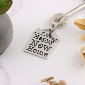 Happy New Home Housewarming Gift Personalised Pewter House Keyring. - Multiply Design