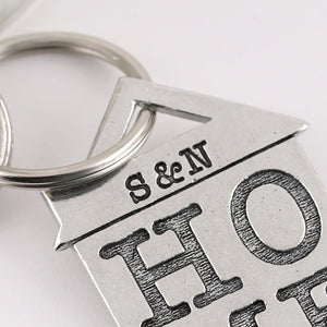 HOME Housewarming Gift Personalised Pewter House Keyring. - Multiply Design