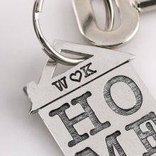 Load image into Gallery viewer, HOME Housewarming Gift Personalised Pewter House Keyring. - Multiply Design