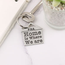Load image into Gallery viewer, Home is Where We Are Housewarming Gift Personalised Pewter House Keyring. - Multiply Design