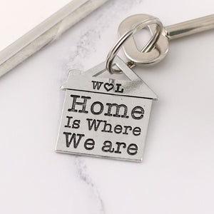 Home is Where We Are Housewarming Gift Personalised Pewter House Keyring. - Multiply Design
