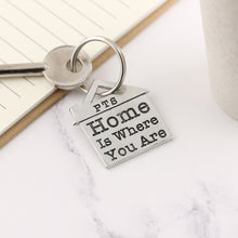 Load image into Gallery viewer, Home is Where You Are Housewarming Gift Personalised Pewter House Keyring. - Multiply Design