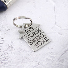 Load image into Gallery viewer, Home Sweet Home personalised pewter house shaped keyring - Multiply Design