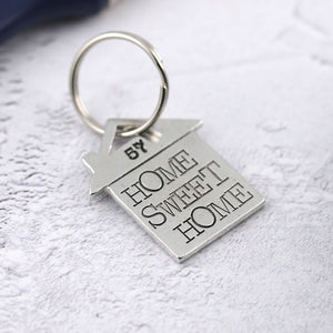 Home Sweet Home personalised pewter house shaped keyring - Multiply Design
