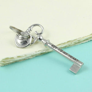 Key to Happiness/ Key to Love/ Key to Luck/ Key to Success/ Pewter key Keyring. - Multiply Design