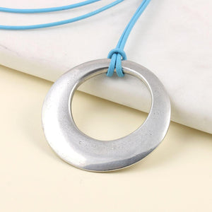 Large Pewter offset circle pendant on Greek Leather thong. - Multiply Design