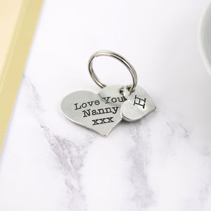 Love you Nanny Pewter Pocket Heart Keyring - Multiply Design