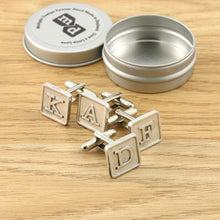 Load image into Gallery viewer, Monogrammed Pewter Tile Cufflinks. - Multiply Design