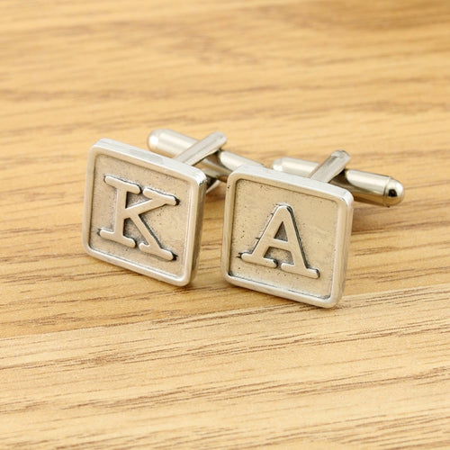 Monogrammed Pewter Tile Cufflinks. - Multiply Design
