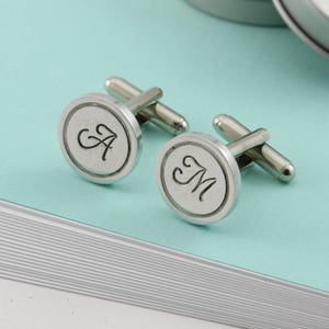 Monogrammed Round Pewter Cufflinks. - Multiply Design