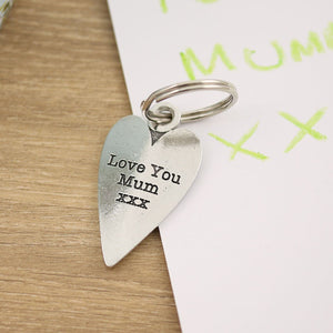 Mum Gift Long Heart Pewter Keyring. - Multiply Design