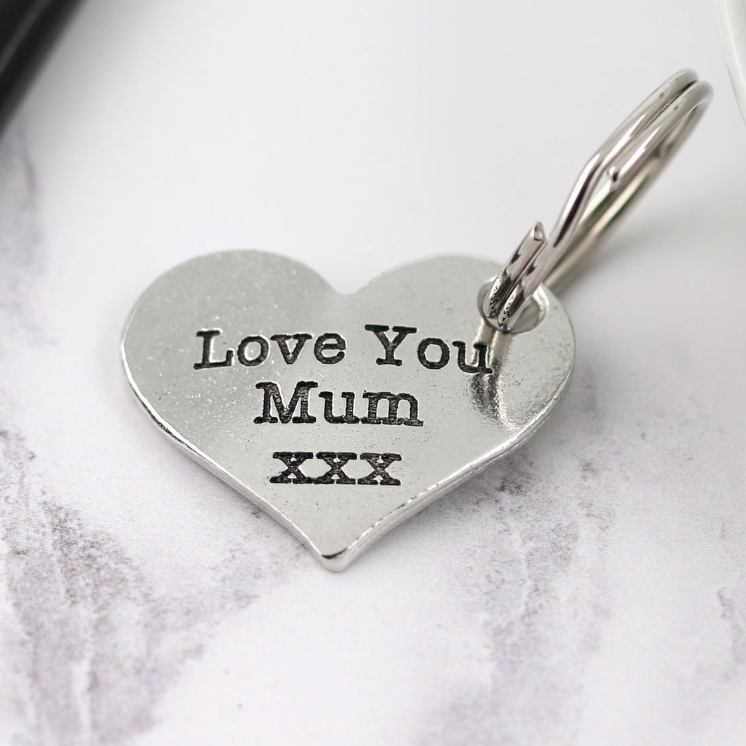 Mum Gift Pewter Pocket Heart Keyring - Multiply Design