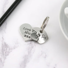 Load image into Gallery viewer, Mum Gift Pewter Pocket Heart Keyring - Multiply Design