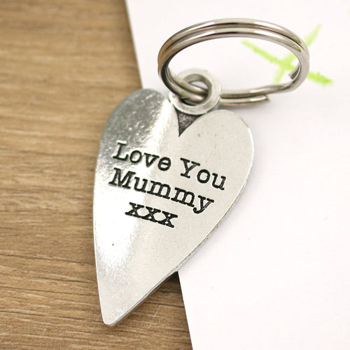 Mummy Gift Long Heart Personalised Pewter Keyring. - Multiply Design