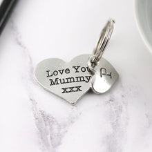 Load image into Gallery viewer, Mummy Gift Pewter Pocket Heart Keyring - Multiply Design