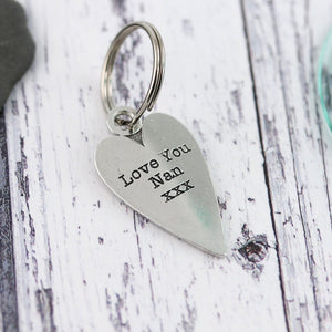 Nan Gift Long Heart Personalised Pewter Keyring. - Multiply Design