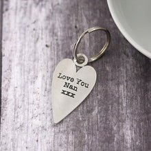 Load image into Gallery viewer, Nan Gift Long Heart Personalised Pewter Keyring. - Multiply Design
