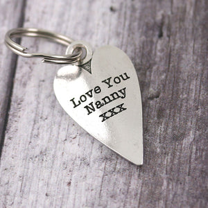 Nanny Gift Long Heart Personalised Pewter Keyring. - Multiply Design