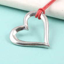 Load image into Gallery viewer, Open Heart pewter Pendant on Leather thong - Multiply Design