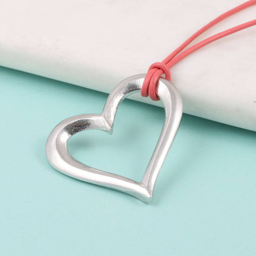 Open Heart pewter Pendant on Leather thong - Multiply Design