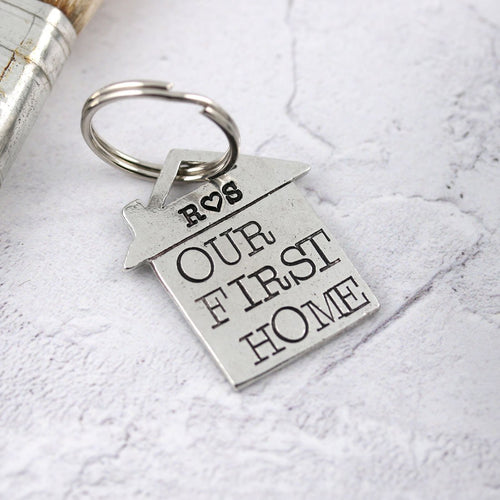 Our First Home Housewarming Gift Personalised Pewter House Keyring. - Multiply Design