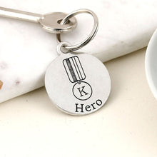 Load image into Gallery viewer, Our Hero Personalised Round Pewter Keyring - Multiply Design